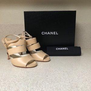 CHANEL CC Lambskin Leather Heel Beige 37.5 / 7.5